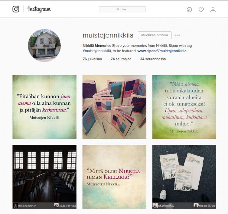 Muistojen Nikkilä -Instagram-sivu